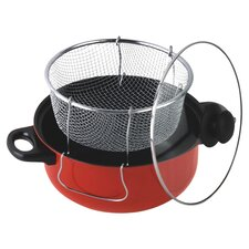 4.5 Quart Nonstick Deep Fryer with Frying Basket and Glass Cover