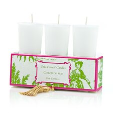 Classic Toile Citron Du Sud Votive Candle Set