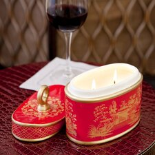 Jardin Red Amber Ceramic 2-Wick Candle