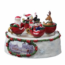 <strong>San Francisco Music Box</strong> Santa 'n Friends Spinning Cups Figurine