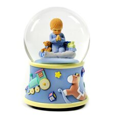 <strong>San Francisco Music Box</strong> Bedtime Prayers Boy Rotating Water Globe