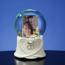Double Heart Photo Frame Water Globe
