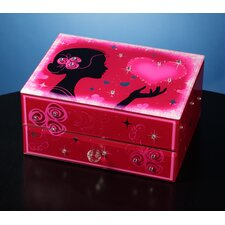 Hearts and Kisses Glass Music Box with Drawer