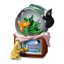 Innocence is Overrated Kitty and Fish Bowl Water Globe Figurine