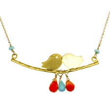 Kissing Bird Turquoise and Carnelian Drop-Stone Necklace