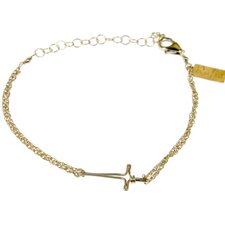 Horizontal Cross Double Chain Link Bracelet