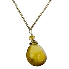 14k Gold Gemstone Pendant Necklace