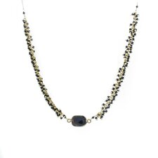 Metal Bezel Beaded Chain Necklace
