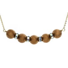 14k Gold Rondels Cultured Pearl Necklace