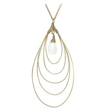 14k Gold Crystal Pendant Necklace