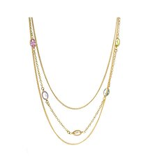 14k Gold 3 Strand Oval Cut Cubic Zirconia Necklace