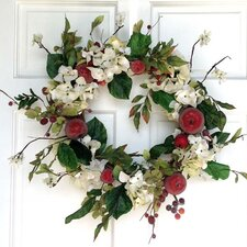 Hydrangea and Red Apple Wreath