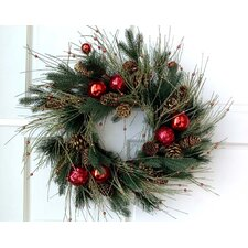 Pineneedle and Red Ball Wreath