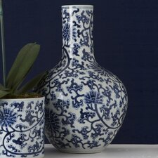 Blue and White Lotus Straight Porcelain Collar Vase