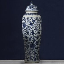 Blue and White Lotus Covered Tall Temple Jar