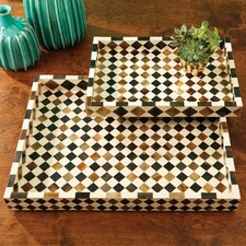 2 Piece Decorative Horn Mosaic Trays Set