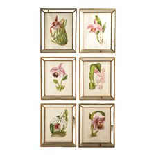 <strong>Two's Company</strong> Orchidees™ 6 Piece Orchid Wall Art Prints in Mirror Frame Set