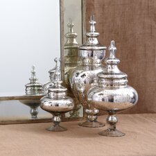 <strong>Two's Company</strong> 3 Piece Pentimento™ Vintage Covered Decorative Urn Set