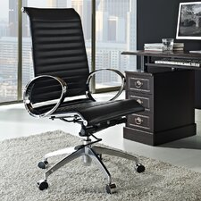 Ribbed High-Back Leather Executive Office Chair