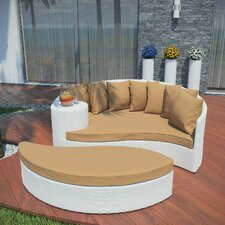 Taiji Outdoor Daybed with Ottoman & Cushions