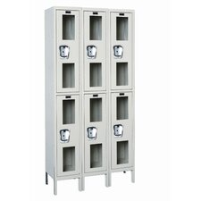 <strong>Hallowell</strong> Safety-View Stock Lockers - Double Tier - 3 Sections (Unassembled)
