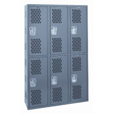 Welded Double-Point Ventilated Locker Single Tier 3 Wide (Quick Ship)