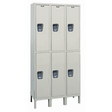 <strong>Hallowell</strong> Maintenance-Free Quiet Stock Lockers - Double Tier - 3 Sections (Assembled)