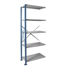 H-Post Shelving High Capacity Open Type Add-on Unit with 5 Shelves