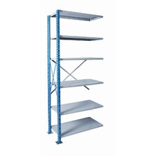 H-Post Shelving High Capacity Open Type Add-on Unit with 6 Shelves