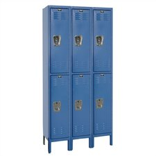 Assembled Premium Stock 3 Section Double Tier Lockers