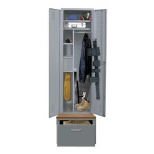 TaskForceXP One Wide Single Tier Locker with Pedestal Base in Hallowell Gray (Assembled)