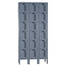 Heavy-Duty Ventilated 3-Wide 6-Tier Locker (Assembled)