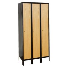 Metal-Wood Hybrid Locker Single Tier 3 Wide (Assembled) (Quick Ship)