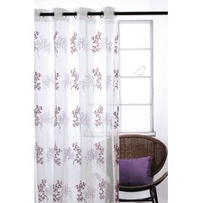 Paradise Grommet Sheer Curtain Panel Pair with Embroideries
