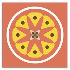 "Organic Origins 12"" x 12"" Satin Decorative Tile Quad in Floral Sprout"