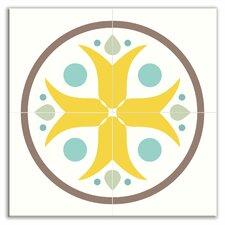 "Organic Origins 12"" x 12"" Satin Decorative Tile Quad in Misty Bloom"