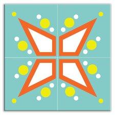 "Earth Quads 12"" x 12"" Satin Decorative Tile Quad in Mod Star Teal"