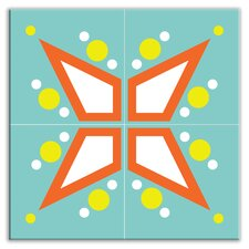 "<strong>Oscar & Izzy</strong> Earth Quads 8-1/2"" x 8-1/2"" Glossy Decorative Tile Quad in Mod Star Teal"