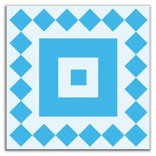 "Folksy Love 4-1/4"" x 4-1/4"" Glossy Decorative Tile in Checkers Blue-Light Blue"