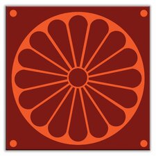 "<strong>Oscar & Izzy</strong> Folksy Love 4-1/4"" x 4-1/4"" Satin Decorative Tile in Citrus Plate Burgundy-Orange"