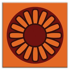 "Folksy Love 4-1/4"" x 4-1/4"" Glossy Decorative Tile in Floral Wheel Orange"