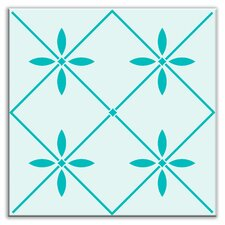 "Folksy Love 4-1/4"" x 4-1/4"" Satin Decorative Tile in Glass Green"