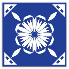 "Folksy Love 4-1/4"" x 4-1/4"" Satin Decorative Tile in Gram's Kitchen Blue"