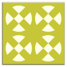 "Folksy Love 4-1/4"" x 4-1/4"" Satin Decorative Tile in Hot Plates Avocado"