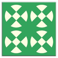 "Folksy Love 4-1/4"" x 4-1/4"" Glossy Decorative Tile in Hot Plates Green"