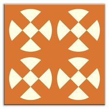 "Folksy Love 4-1/4"" x 4-1/4"" Satin Decorative Tile in Hot Plates Orange"