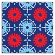 "Folksy Love 4-1/4"" x 4-1/4"" Satin Decorative Tile in Kaleidoscope Blue-Red"