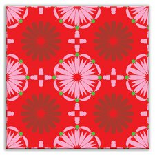 "Folksy Love 4-1/4"" x 4-1/4"" Satin Decorative Tile in Kaleidoscope Pink-Red"