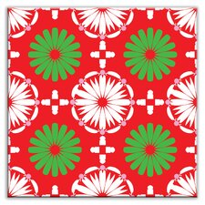 "Folksy Love 4-1/4"" x 4-1/4"" Satin Decorative Tile in Kaleidoscope White-Green-Red"