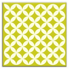 "Folksy Love 4-1/4"" x 4-1/4"" Glossy Decorative Tile in Needle Point Avocado"